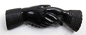 Classic Victorian Vulcanite Brooch, Clasped Hands