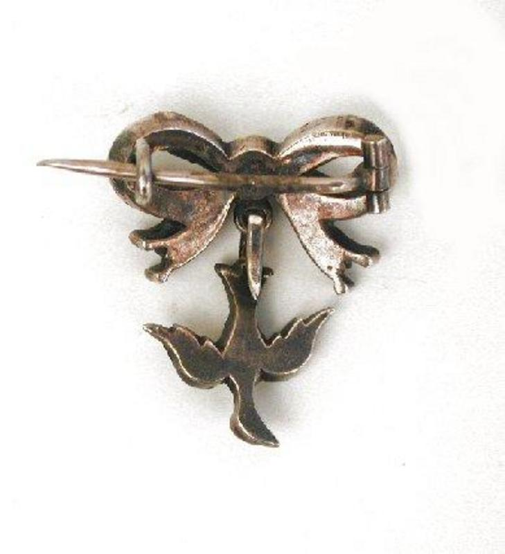 Georgian Paste & Silver Bow & Bird Brooch