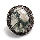 Stunning Vintage Moss Agate and Silver Ring