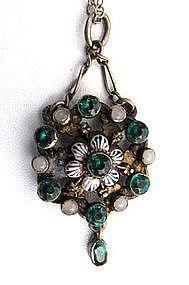 19th C  Austro-Hungarian Silver, Enamel, Paste Pendant