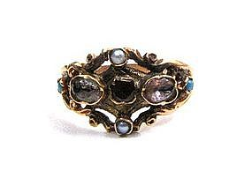 Beautiful Georgian Ring, Gold, Garnet, Turquoise