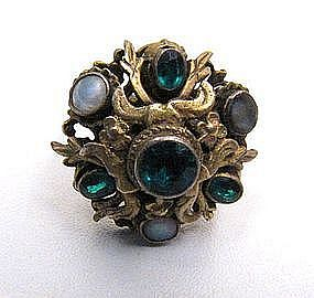 Ornate Austro Hungarian Silver Gilt Ring, Green Paste