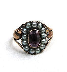 Gorgeous Georgian Mourning Ring, Amethyst, Pearls