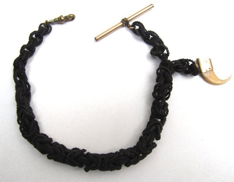 Super Victorian Horsehair Watch Chain with Claw Fob
