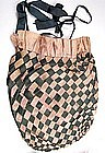 Unusual Early 19th C, Pink and Green Woven Ribbon Purse