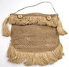 Unusual 19th C Netted Purse, Flax