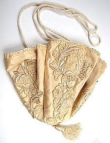 Pretty Ivory Silk Applique and Embroidered Purse