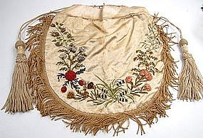 Beautiful Early 19th C Embroidered Silk Purse, Flowers