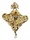 Gorgeous French 18k Gold Art Nouveau Pendant