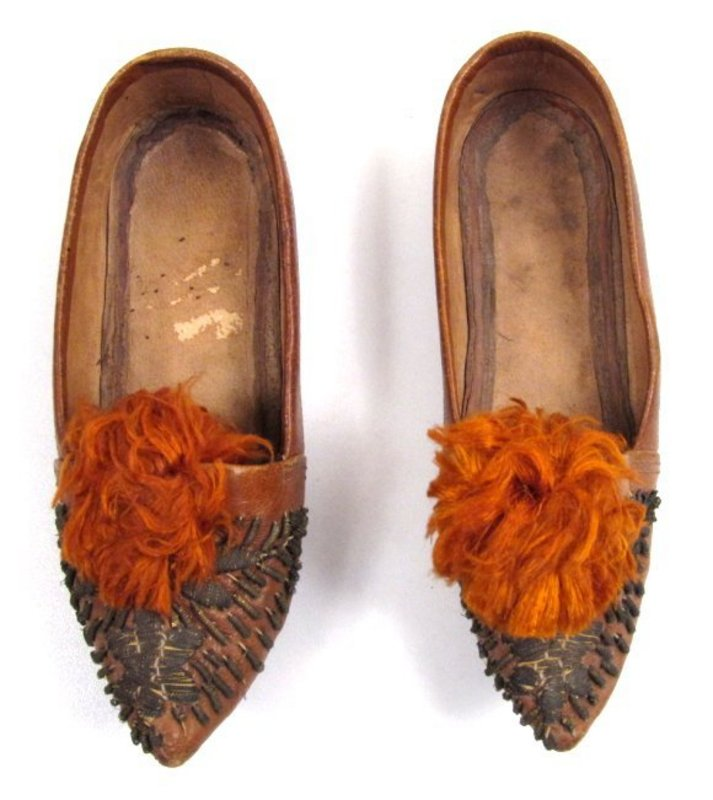 19th C Child's Shoes, Leather, Gilt Metal Embroidery