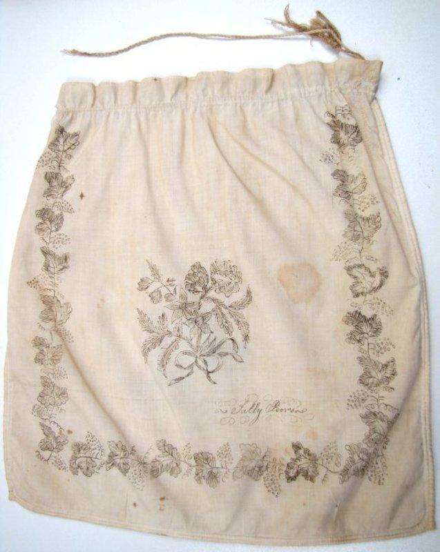 18th C School Girl Work Bag, Ink on Linen