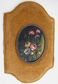 19th C Oil on Copper Miniature Painting, Flowers