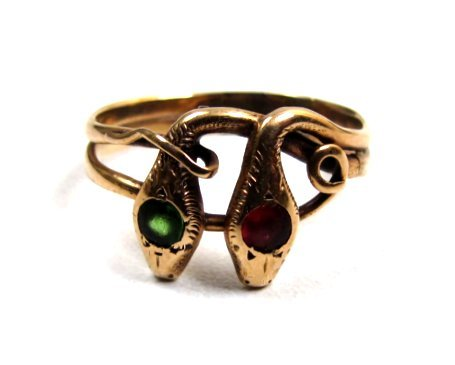 Antique 9K Ring, Entwined Snakes, Paste Heads