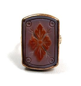 American Victorian Glass Cameo Ring, 14K, Flower, 1875
