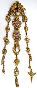 19th C Russian Silver Gilt Chatelaine, Cherubs,  Hands