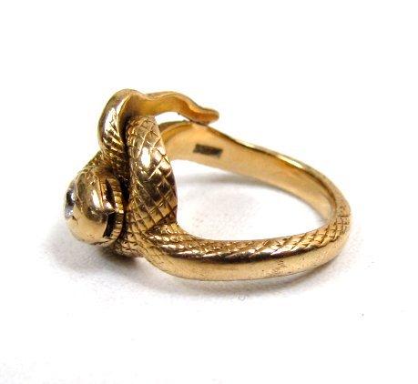 Antique 14k Snake Ring, Diamond Head