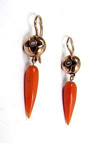 Delicate Victorian Coral and Pearl Drop Earrings
