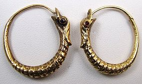 Superb Georgian Snake Hoop Earrings, Garnet Eyes