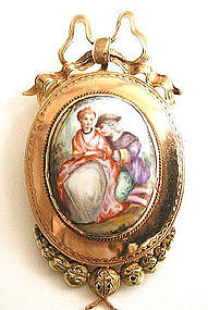 Lovely French Enamel & 18k Brooch -- Lovers