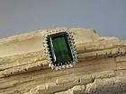 Vintage, estate 14k gold green tourmaline diamond ring