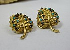 Retro Italy 18k gold sapphire turquoise earrings