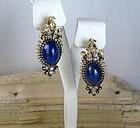 Art Deco French 14k gold lapis lazuli diamond earrings