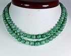 Antique 14k gold genuine jadeite jade bead necklace
