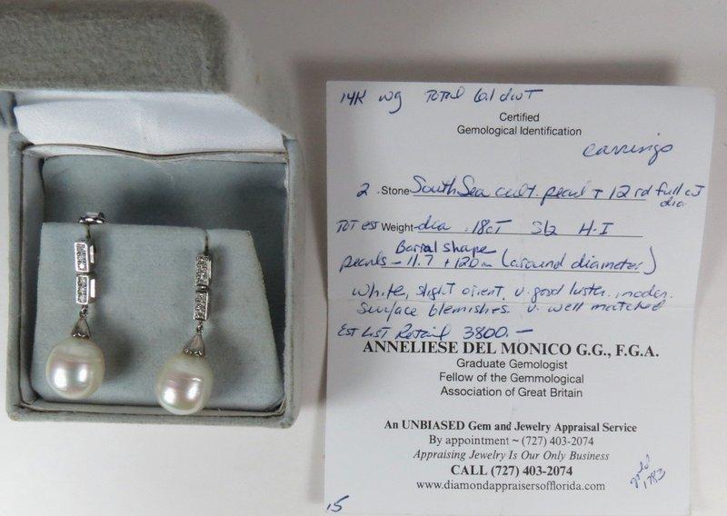 14k gold South Sea Pearls Diamond dangle earrings