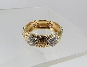 Estate Buccellati 18k gold diamond wedding band ring