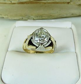 Antique Platinum/18k yellow gold 2ct diamond engagement ring