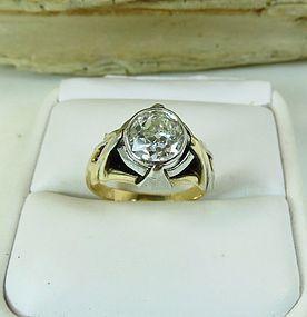 Antique Platinum/18k yellow gold 2ct diamond engagement ring