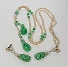 18k Gold Apple Green Jade Seed Pearl Necklace Earrings