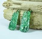 Antique 14k gold Carved Jadeite Jade Dangle Earrings
