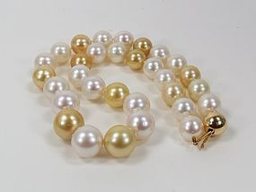 14k gold genuine South Sea pearl necklace 14.8mm