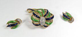 Estate 18k gold diamond enamel brooch earrings set