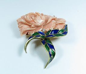 14k gold pink coral, diamond enamel flower brooch, pin