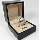 Modern Bvlgari 18k white gold dome ring with box
