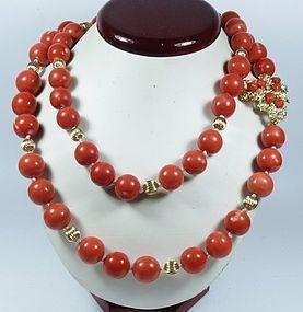 14k Gold Chinese Tomato Red Coral Bead Necklace