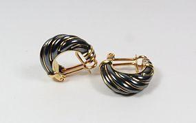 Estate Cartier 18k gold enamel hoop earrings