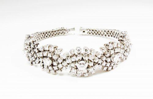 Art Deco 18k White Gold 10 Carats of Diamonds Bracelet