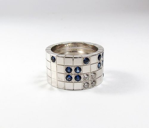 Retired Cartier 18k gold diamond sapphire band ring