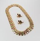 14k gold chevron necklace earrings set Wordly Allsopp
