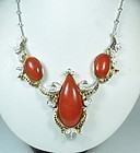 Estate 18k gold red coral diamond sapphire necklace