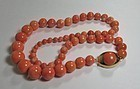 Large 18k Gold Genuine Salmon Coral Bead necklace 82 g
