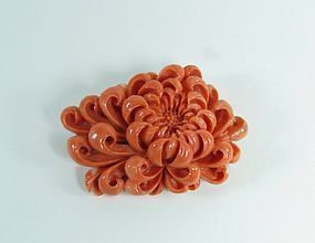 Chinese Silver & Carved Genuine Coral Flower Brooch