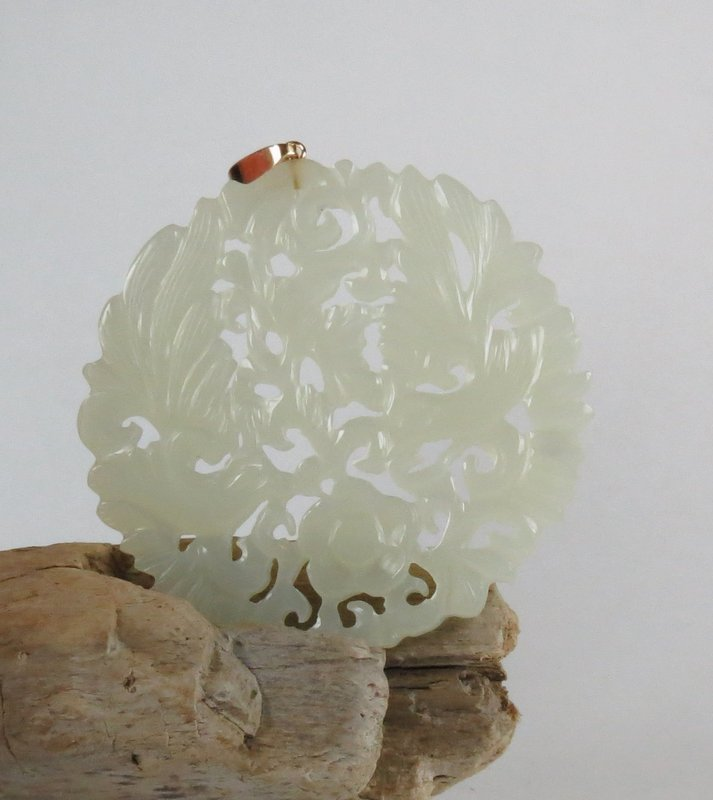 Vintage carved white jade pendant 14k gold
