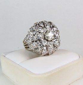 Huge 14k gold 6.25ctw diamond cocktail ring