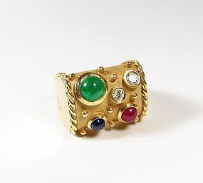 Seaman Schepps 18k gold emerald ruby diamond ring