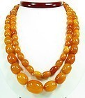 Large butterscotch egg yolk amber bead necklace
