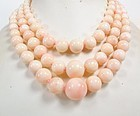 Large 3 strand angel skin coral bead necklace 186 gr.